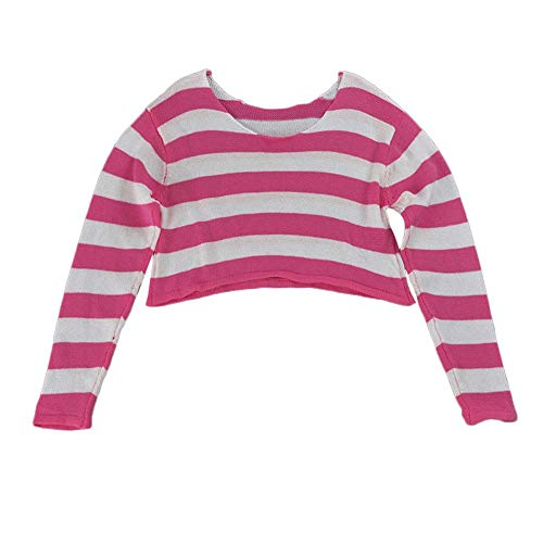 Balakie Sweater for Women,Stripe Knitted Beach Crop Pullovers Loose Blouse (Pink Womens Pullover)