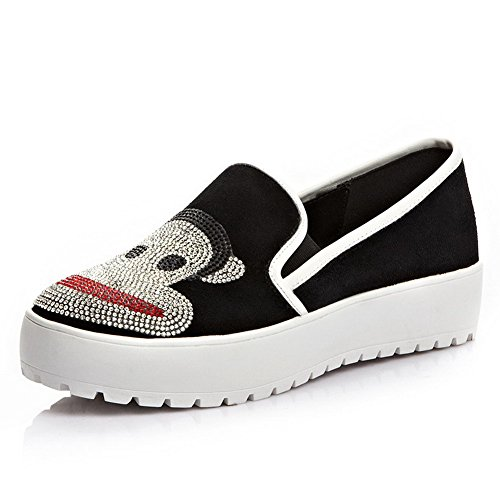 AllhqFashion Mujeres Cuero De Vaca Puntera Redonda Tacón Bajo Esmerilado Zapatos de Tacón Negro