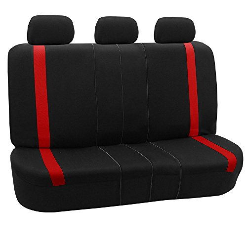 - FH GROUP FH-FB054013 Red Cosmopolitan Flat Cloth Seat Covers, Airbag compatible and Split Bench, Red / Black Color -Fit Most Car, Truck, Suv, or Van