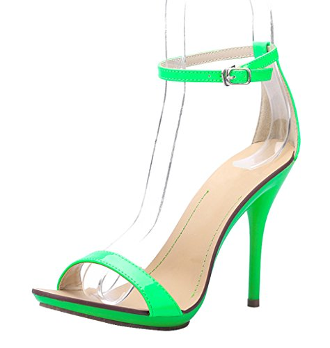 Strap Heel patent Dress Sexy pu Wedding Ankle Sandal Womens green Summer Stiletto High Party Toe CAMSSOO Open FRgxXUn0U