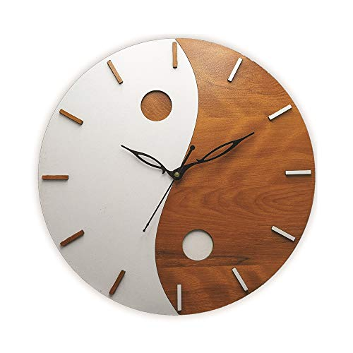 Fd Wooden Wall Clock Round Home Fancy Big Size Latest Antique Design Ticking Movement Clock No Frame 12 Inch For Home Kitchen Living Room Bedroom Office Thefirstreviews Com