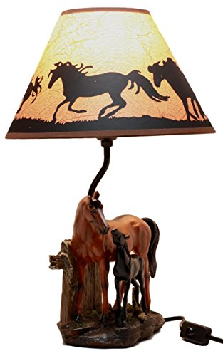 Ebros Gift Chestnut Horse Mare & Foal By Ranch Fence Desktop Table Lamp With Shade Home Decor - Foal Chestnut