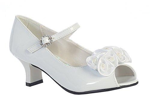 Swea Pea & Lilli Girl's Peep Toe Dress Shoe with Satin Flowers White 1 ()