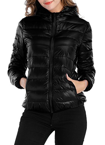 Sarin Mathews Womens Packable Ultra Lightweight Down Jacket Outwear Puffer Coats Black M
