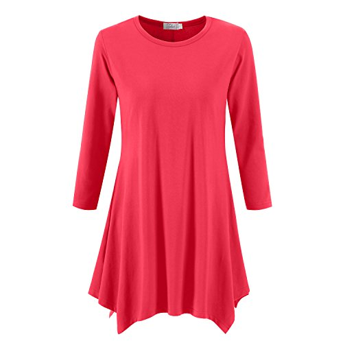 Topdress Women's Swing Tunic Tops 3/4 Sleeve Loose T-Shirt Dress Watermelon 3X New