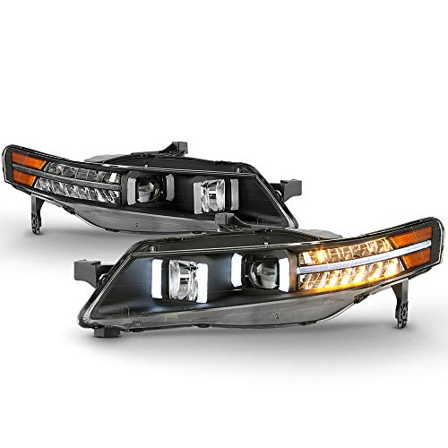 (ACANII - For Black 2004-2008 Acura TL w/LED Signal DRL Tube Projector Headlights Headlamps Driver & Passenger Side)