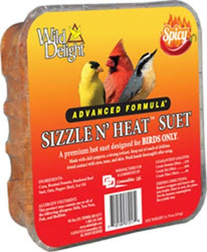 Wild Delight 1 3 Pack of Sizzle N Heat Spicy Suet for Birds, 11.75 - Hot Pepper Suet Cakes