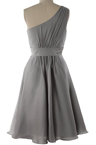 MACloth Elegant One Shoulder Cocktail Dress Short Wedding Party Formal Gown Pewter