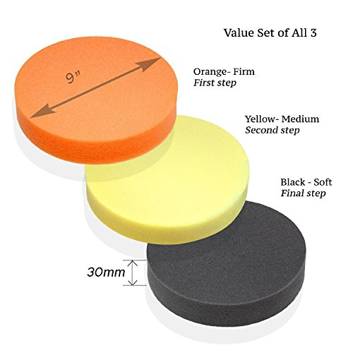 """Premium-Quality 9"""" Foam Buffing Pad for Power Polishers - Choose Soft, Medium or Firm - Foam Made in Germany"""