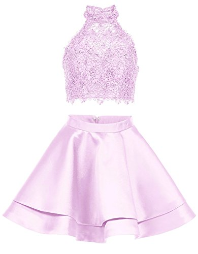 BRL MALL Prom Homecoming Dresses for Juniors Short Lace 2 Pieces Halter High Neck Party Gowns Backless Pink ()