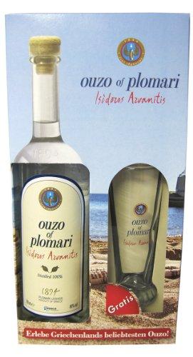Ouzo Plomari Geschenkset Longdrink: Ouzo Plomari 0,7l mit 1 Plomari Ouzo-Longdrinkglas in Geschenkverpackung