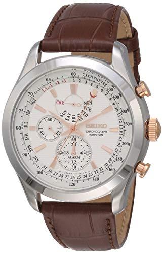 Seiko Men's SPC129P1 Neo Classic Alarm Perpetual Chronograph White Dial Brown Leather Watch