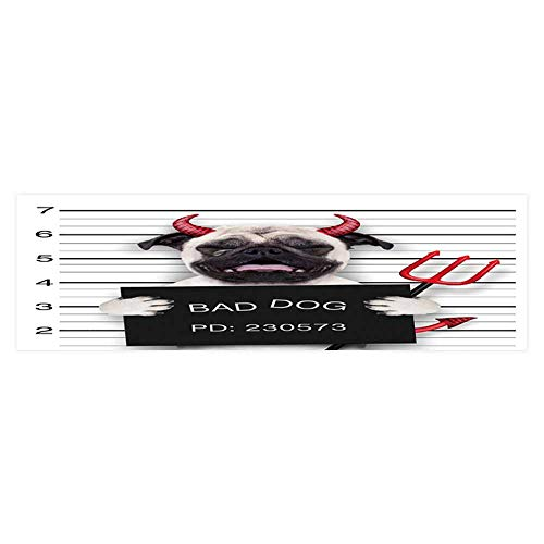 (Dragonhome Aquarium Background Halloween Devil Pug Dog cry in a Mugshot Caught on withcamera Wallpaper Fish Tank Backdrop Static Cling L29.5 x)