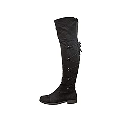 f4f5fd5c1 Ladies Womens Over The Knee Thigh High Lace Up Gusset Low Heels Boots Shoes  Size 3-8: Amazon.co.uk: Shoes & Bags