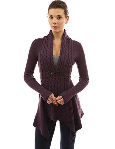 PattyBoutik-Womens-Buckle-Braid-Front-Cardigan-Dark-Purple-M