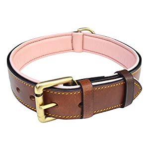 """Soft Touch Collars Padded Leather Dog Collar, Large Brown with Light Pink Padding, Made with Genuine Real Leather, 24"""" Long x 1.5"""" Wide , Fits Neck Size 18"""" to 21"""" Inches"""