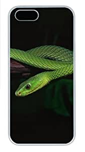 2013 Green Snake Desktop Polycarbonate Plastic iPhone 5S and iPhone 5 Case Cover White by lolosakes
