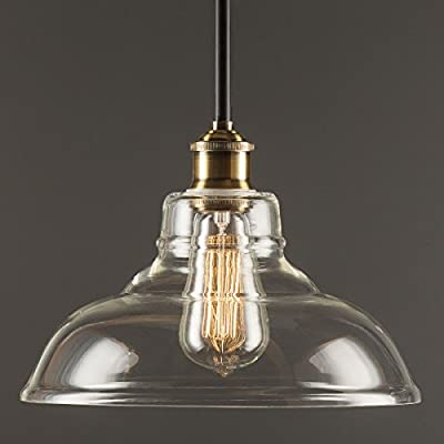 Linea di Liara Lucera Industrial Factory Stem Hung Pendant Lamp -One-Light Fixture with Glass Shade - Metal Canopy - Downlight Modern Vintage LL-P431 …