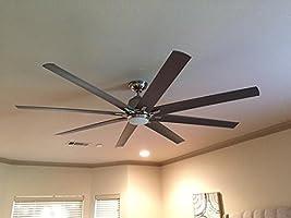 Integrated LED Indoor//outdoor Brushed Nickel Ceiling Fan Kensgrove 72 In