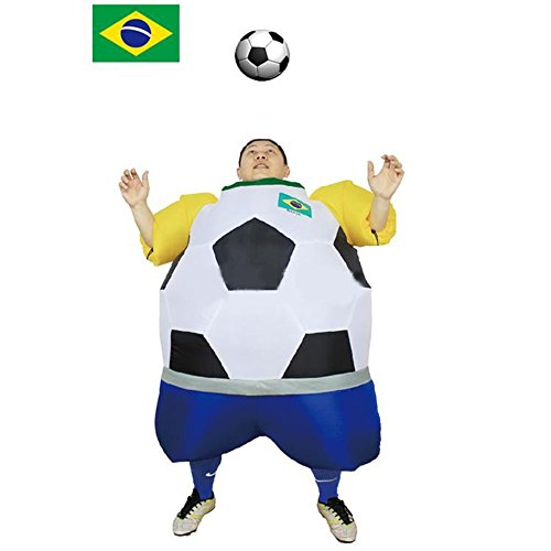 YOWESHOP Soccer Fan Costume Inflatable Funny Theme Halloween Costume (Brasil Type) ()