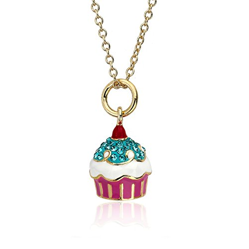 "Molly Glitz ""Sparkle Sweet"" 14k Gold-Plated Aqua Crystal Cherry Top Cupcake Pendant Necklace"