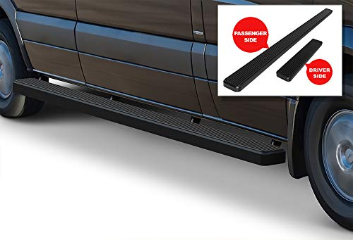 APS iBoard (Black Powder Coated 5 inches) Running Boards Nerf Bars Side Steps Step Rails Compatible with 2007-2009 Dodge Sprinter Full Size Van & 10-19 Mercedes-Benz Sprinter