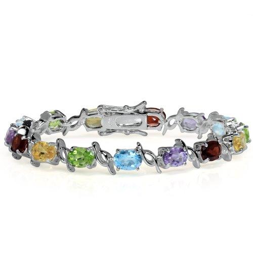 Natural Garnet, Amethyst, Peridot, Citrine & Blue Topaz 925 Sterling Silver Bracelet 6.5 Inch.