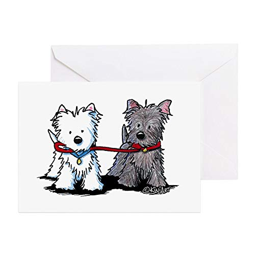 (CafePress Terrier Walking Buddies Greeting Card (20-pack), Note Card with Blank Inside, Birthday Card Glossy)
