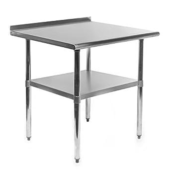 gridmann stainless steel commercial kitchen prep  u0026 work table w  backsplash   30 u0026quot  x amazon com  gridmann stainless steel commercial kitchen prep      rh   amazon com