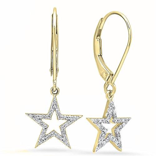 (Dazzlingrock Collection 0.15 Carat (ctw) 10K Round Cut White Diamond Ladies Star Shape Fashion Dangling Earrings, Yellow Gold)