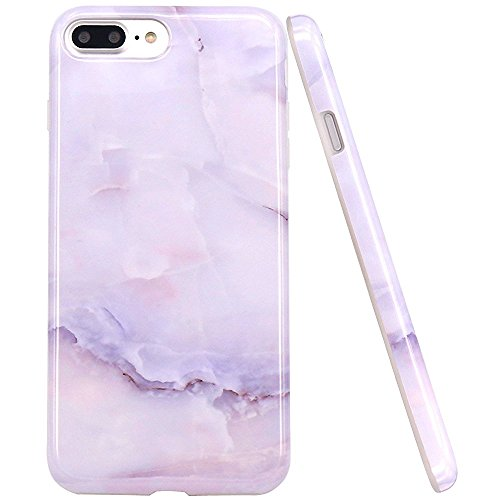 JAHOLAN White Jade Marble Design Clear Bumper TPU Soft Rubber Silicone Cover Phone Case Compatible with iPhone 7 Plus/iPhone 8 Plus