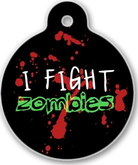 Zombie Fighter Pet ID Tag for Dogs and Cats - Dog Tag Art from Dog Tag Art