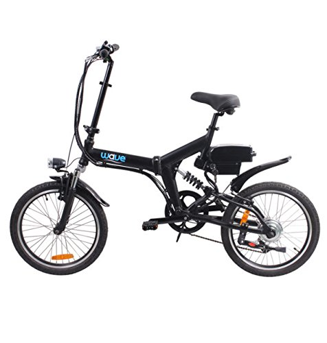 Electric Folding Mountain Bike by Wave | Lightweight Rear 6 Speed Shimano, 36V 350W Lithium Ion Battery and Charger Included Satin Black