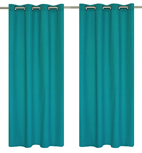 Karma Cotton Look 2 Panel Grommet Curtain Set 54 95 Inch Turquoise Curtain Store