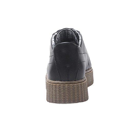 Amoonyfashion Kvinnor Slip-mjukt Material Med Slutna Tå Låga Klackar Pumpar-skor Svarta
