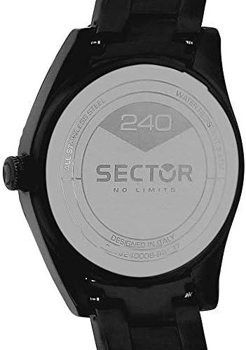 Sector No Limits Orologio da uomo, Collezione 240, movimento al quarzo, con funzione solo tempo, in acciaio e PVD nero - R3253240008