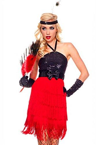 Pailletten Kostüme Red Top Schwarz Quasten ZxPw1Cqq