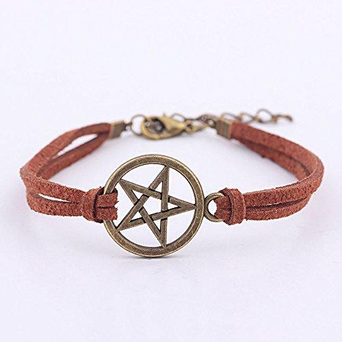 March Brown Spider - New Inspired Bracelet Pendant Brown Rope Retro Bronze Pentagram BraceletK0