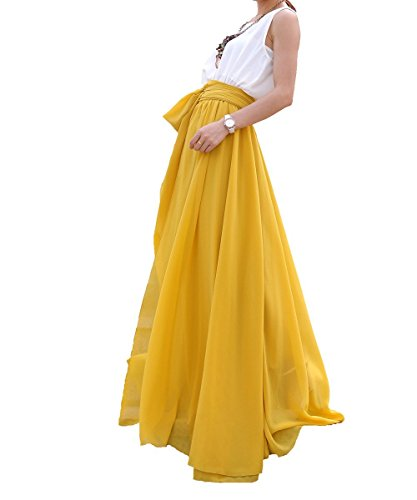 Melansay Women's Beatiful Bow Tie Summer Beach Chiffon High Waist Maxi Skirt XL,Mustard (Mustard Chiffon)
