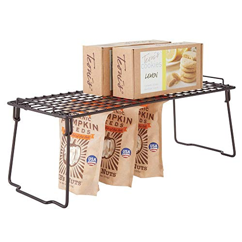 mDesign Metal Stackable Storage Shelf - 2 Tier Raised Food and Kitchen Organizer for Cabinets, Pantry Shelves, Countertops, Folds Flat - 7