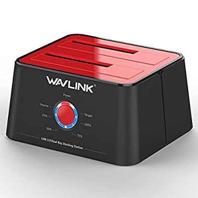 WAVLINK HDD Docking Station USB 3.0 to SATA, Dual Bay External Hard Drive Dock with Offline Clone/Backup Function for 2.5/3.5 Inch HDD SSD SATAⅠ/Ⅱ/Ⅲ Support 2 x 8TB and UASP from WAVLINK