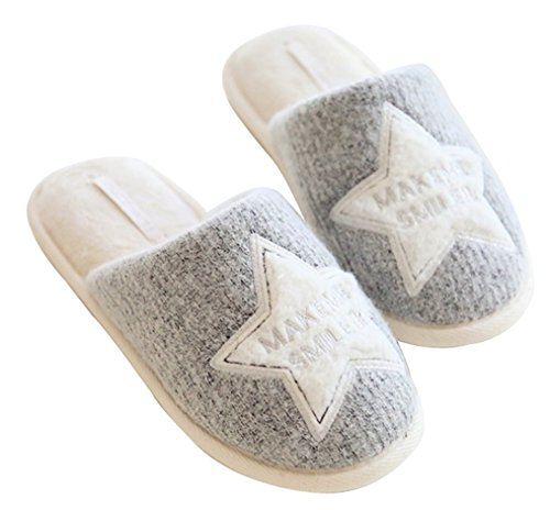 Blubi Mujeres Grey Star Cotton Closed Toe Zapatillas De Casa Cute Dormitorio Pantuflas