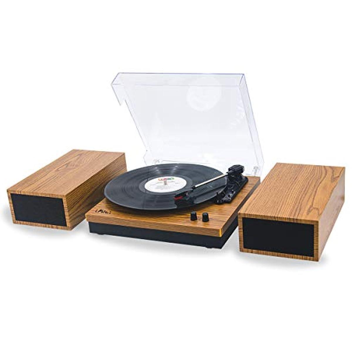 [해외] LP&NO.1 레트로 벨트 드라이어이브 블루 tooth 턴 테이블 분리 가능 스테레오 스피커 부착,3 스피드 비닐 레코드 플레이어
