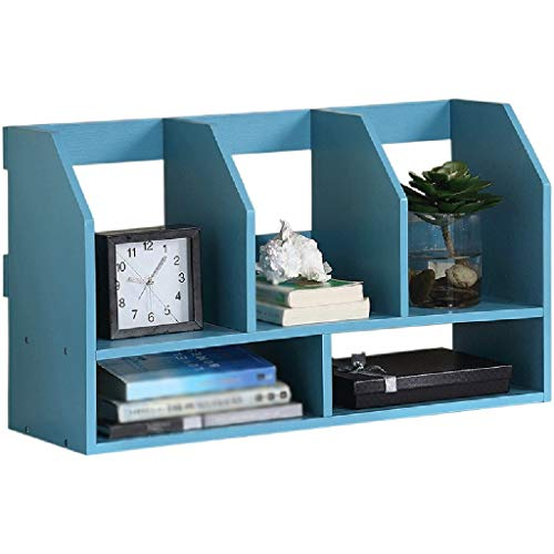 QiXian Shelves Organizer for Books Bookcase Bookshelf Ends Wooden Mediterranean Blue Multifunction Shelf Study Strong Sturdy