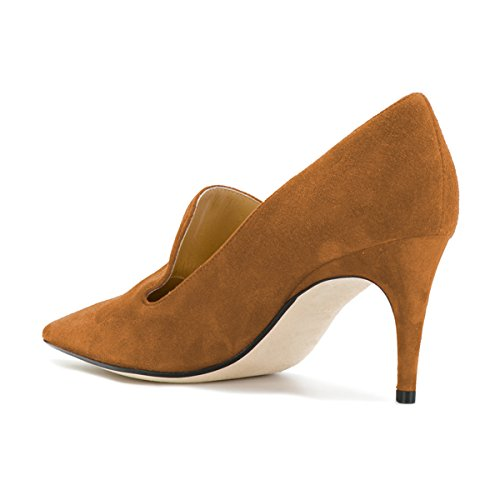 on Heels Women's Slide Stilettos Prom Toe Pointy Suede Loafer Shoes Low Brown Slip Pumps YDN dgIaqa