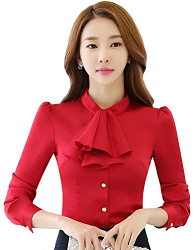 JHVYF Women's Chiffon Long Sleeve Shirt Blouse Bow-Tie Slim Fit Button Down Shirts Red US 6(Asian Tag 2XL)