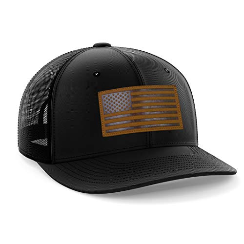 The Fighting Forces American Flag USA Black Snapback Hat with Leather ()