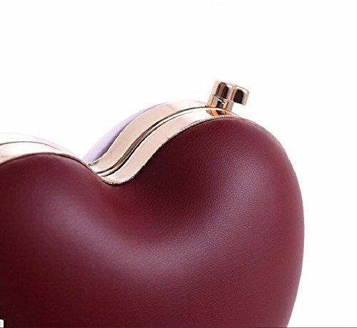 el bolso Peach amor banquete de la bolsa cadena Gules gules de de De Heart de cuero la mano noche XJTNLB De New maquillaje O75Yww