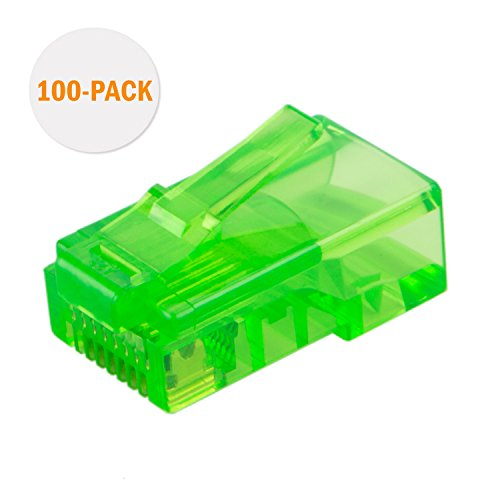 CableCreation 100-PACK Cat 5e RJ45 Connector, 8P8C UTP Network Plug For Solid Wire and Standard Cable, Transparent Green - Green Cat5e Connector