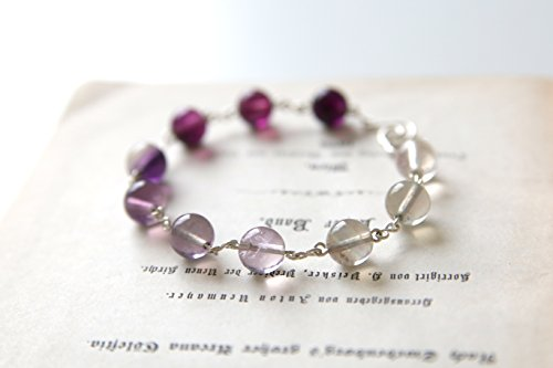 Twilight Bracelet - Purple Ombre Fluorite Gemstone Beaded Bracelet, Handmade Sterling Silver Jewellery by Ikuri immortelle, FREE SHIPPING